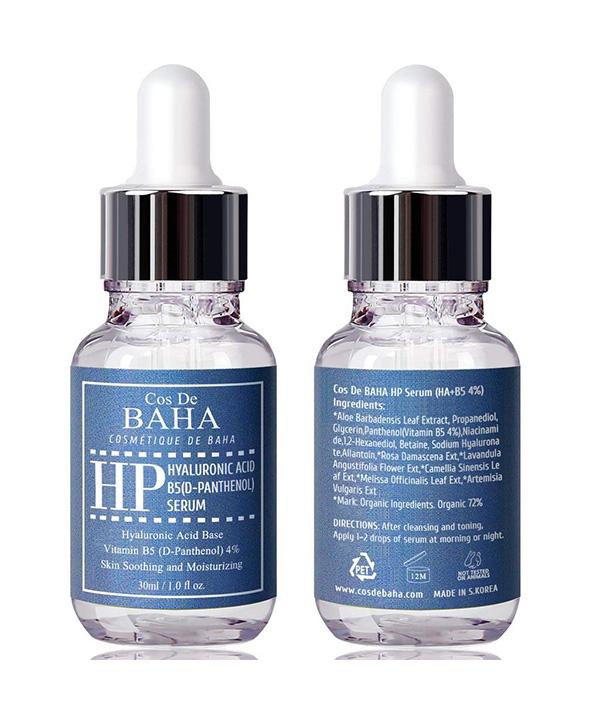 Увлажняющая сыворотка против морщин с пантенолом и гиалуроновой кислотой Cos De BAHA Vitamin B5 4% + Hyaluronic Acid Serum (30 ml)
