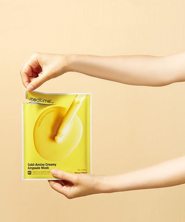 Питательная маска для лица с аминокислотами Meditime Gold Amino Creamy Ampoule Mask (1шт)