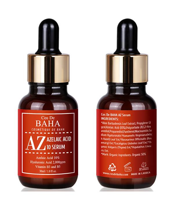 Сыворотка от прыщей с азелаиновой кислотой и ниацинамидом Cos De BAHA Azelaic Acid 10% Serum (30 ml)