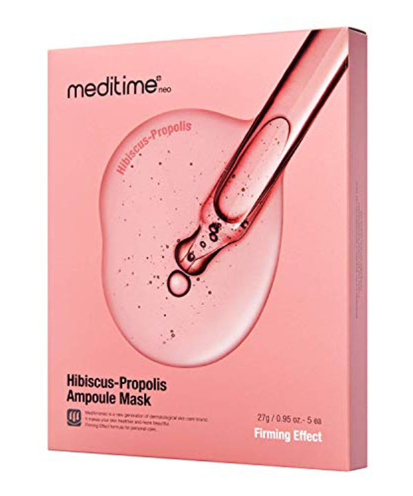 Омолаживающая маска с прополисом и гибискусом Meditime Hibiscus Propolis Ampoule Mask (1шт)