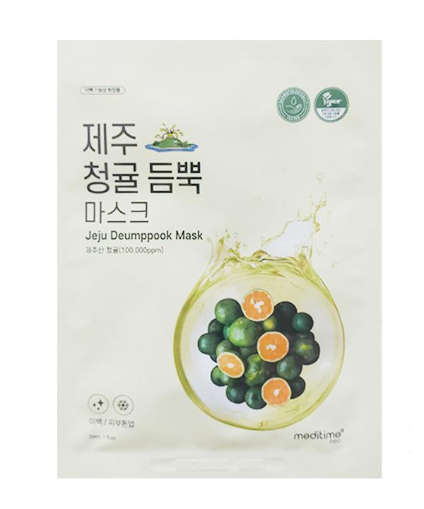 Осветляющая маска для лица с экстрактом зеленого мандарина Meditime Jeju Green Tangerine Deumppook Mask (30 g)