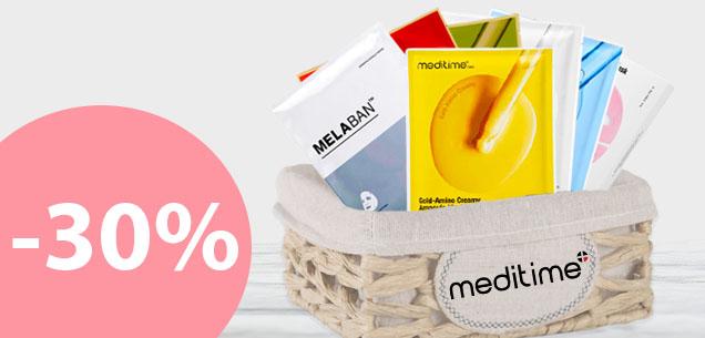Успей заказать 10 масок <br>от бренда Meditime<br>со скидкой — 30%<br>с бесплатной<br>доставкой